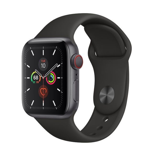 Apple Watch Series 5 GPS + Cellular, 40mm Space Gray Aluminum Case with Black Sport Band MWWQ2