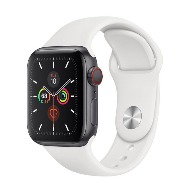 Apple Watch Series 5 GPS + Cellular, 40mm Space Gray Aluminum Case with White Sport Band