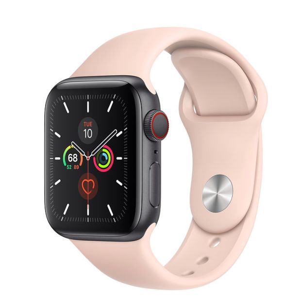 Apple Watch Series 5 GPS + Cellular, 40mm Space Gray Aluminum Case with Pink Sand Sport Band