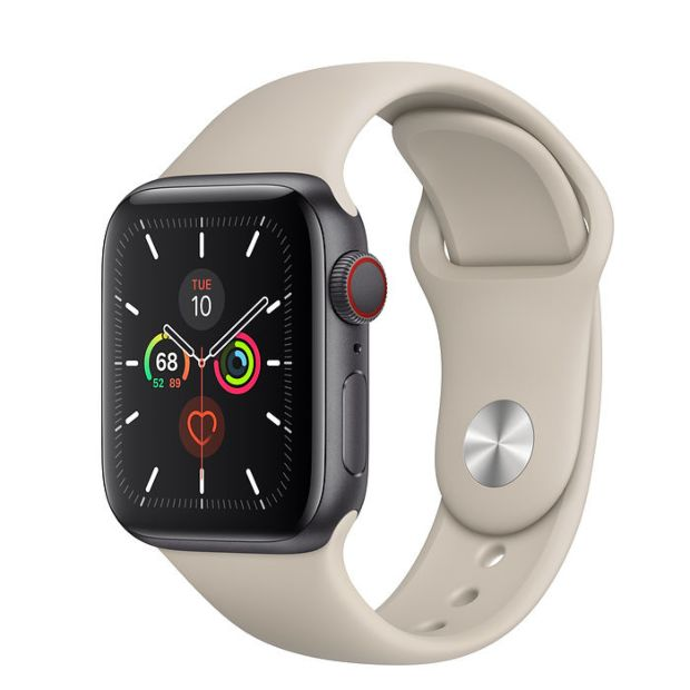 Apple Watch Series 5 GPS + Cellular, 40mm Space Gray Aluminum Case with Stone Sport Band