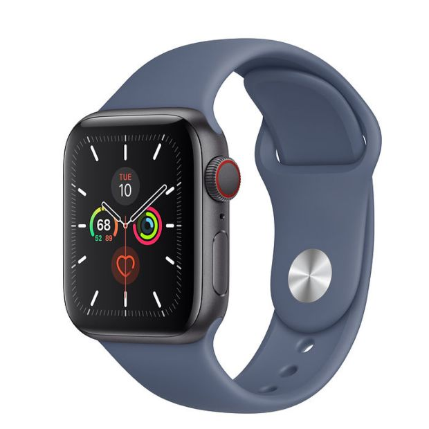 Apple Watch Series 5 GPS + Cellular, 40mm Space Gray Aluminum Case with Alaskan Blue Sport Band