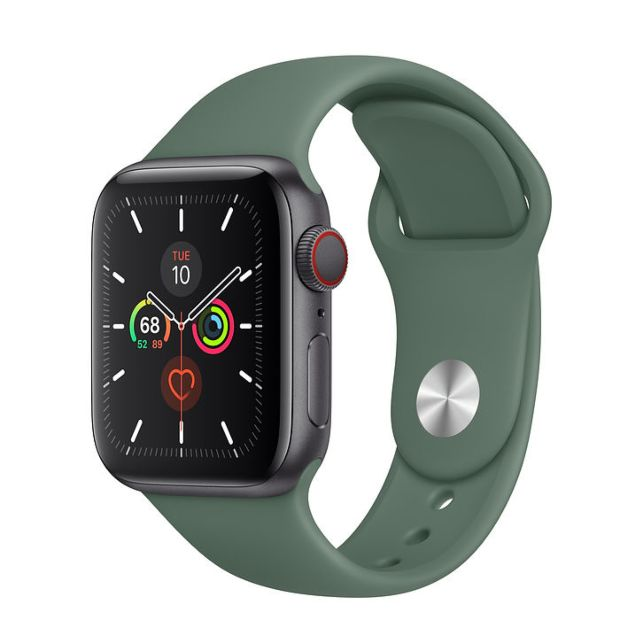 Apple Watch Series 5 GPS + Cellular, 40mm Space Gray Aluminum Case with Pine Green Sport Band