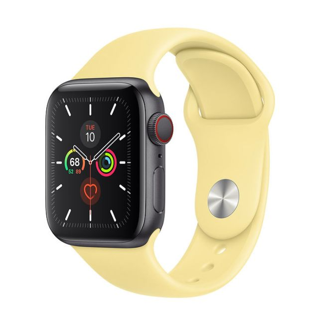 Apple Watch Series 5 GPS + Cellular, 40mm Space Gray Aluminum Case with Lemon Cream Sport Band
