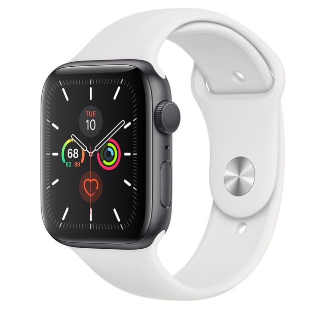 Apple Watch Series 5 GPS, 44mm Space Gray Aluminum Case with White Sport Band