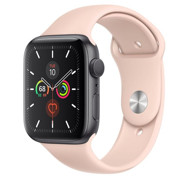Apple Watch Series 5 GPS, 44mm Space Gray Aluminum Case with Pink Sand Sport Band