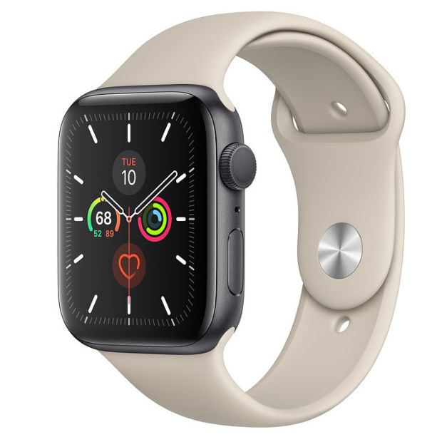 Apple Watch Series 5 GPS, 44mm Space Gray Aluminum Case with Stone Sport Band