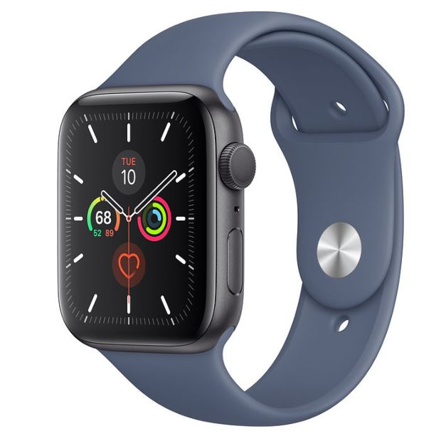 Apple Watch Series 5 GPS, 44mm Space Gray Aluminum Case with Alaskan Blue Sport Band