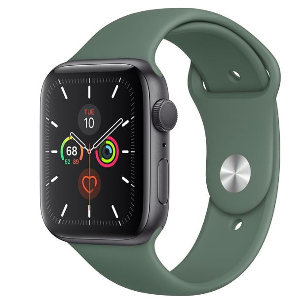 Apple Watch Series 5 GPS, 44mm Space Gray Aluminum Case with Pine Green Sport Band MWT52