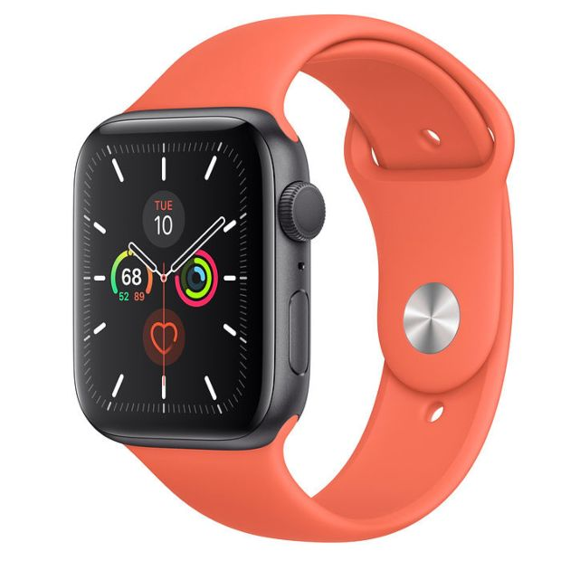 Apple Watch Series 5 GPS, 44mm Space Gray Aluminum Case with Clementine Sport Band