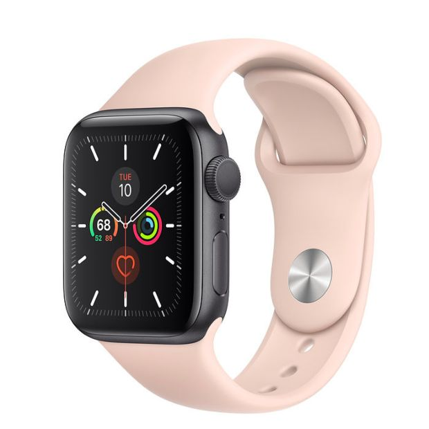 Apple Watch Series 5 GPS, 40mm Space Gray Aluminum Case with Pink Sand Sport Band
