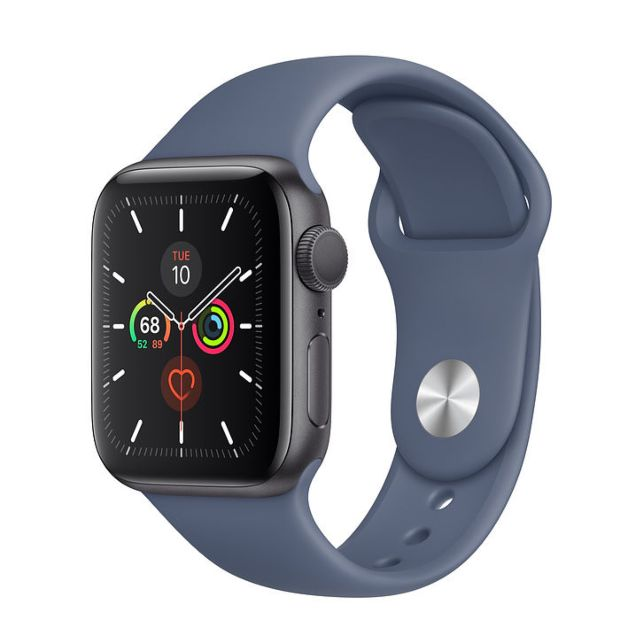 Apple Watch Series 5 GPS, 40mm Space Gray Aluminum Case with Alaskan Blue Sport Band