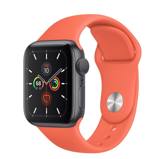 Apple Watch Series 5 GPS, 40mm Space Gray Aluminum Case with Clementine Sport Band