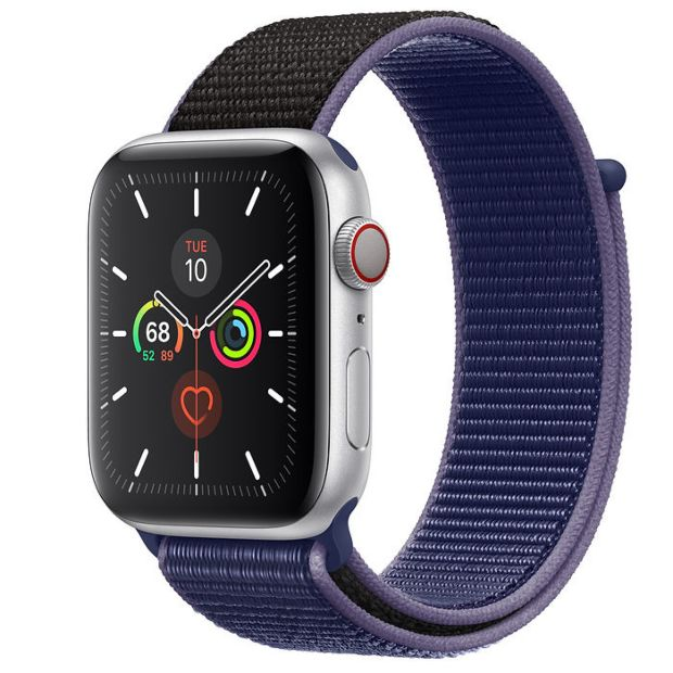 Apple Watch Series 5 GPS + Cellular, 44mm Silver Aluminum Case with Midnight Blue Sport Loop