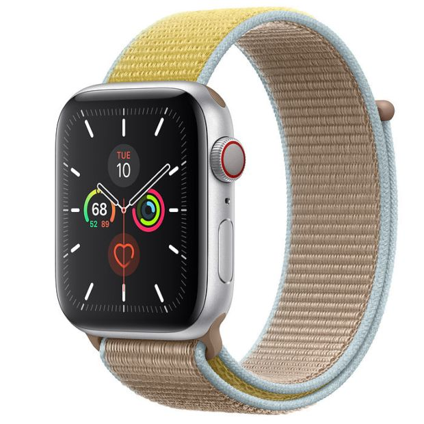 Apple Watch Series 5 GPS + Cellular, 44mm Silver Aluminum Case with Camel Sport Loop