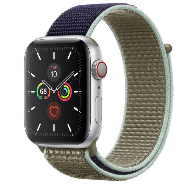 Apple Watch Series 5 GPS + Cellular, 44mm Silver Aluminum Case with Khaki Sport Loop