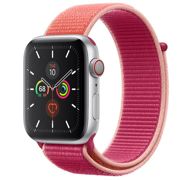 Apple Watch Series 5 GPS + Cellular, 44mm Silver Aluminum Case with Pomegranate Sport Loop