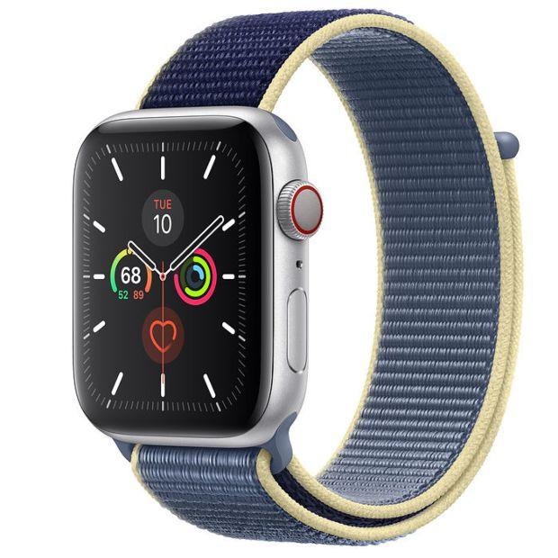 Apple Watch Series 5 GPS + Cellular, 44mm Silver Aluminum Case with Alaskan Blue Sport Loop