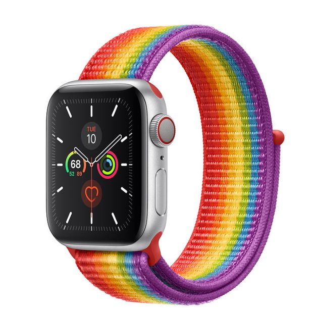 Apple Watch Series 5 GPS + Cellular, 40mm Silver Aluminum Case with Pride Sport Loop