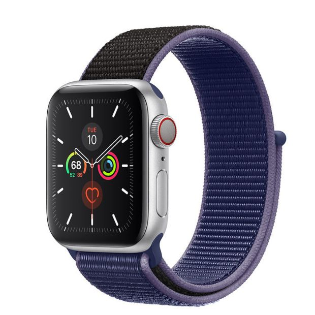 Apple Watch Series 5 GPS + Cellular, 40mm Silver Aluminum Case with Midnight Blue Sport Loop