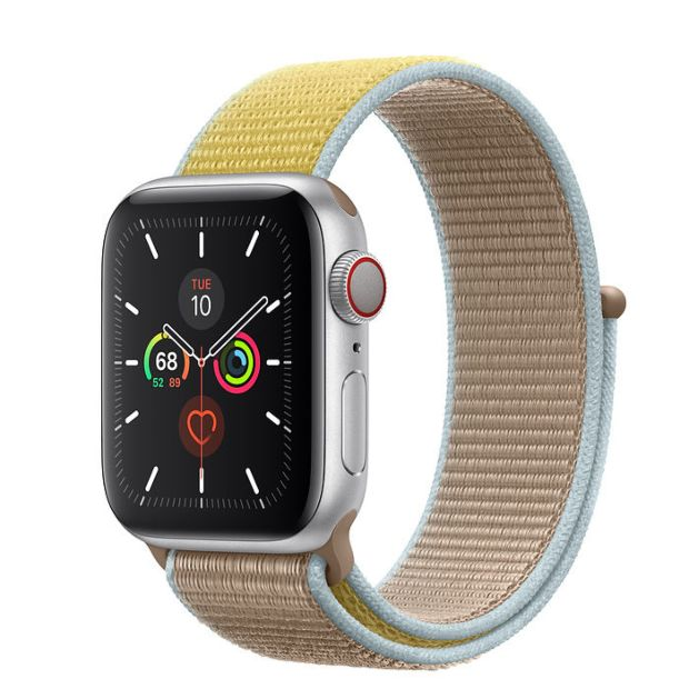 Apple Watch Series 5 GPS + Cellular, 40mm Silver Aluminum Case with Camel Sport Loop