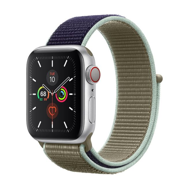 Apple Watch Series 5 GPS + Cellular, 40mm Silver Aluminum Case with Khaki Sport Loop