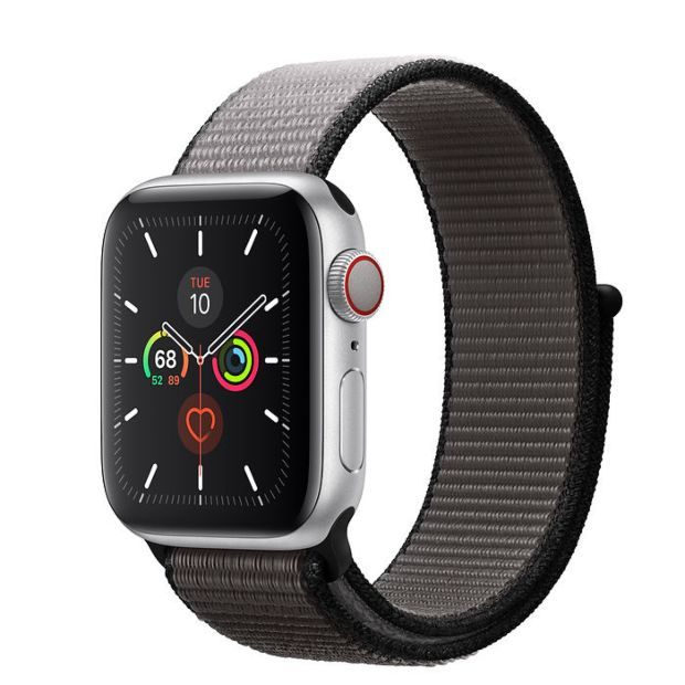 Apple Watch Series 5 GPS + Cellular, 40mm Silver Aluminum Case with Anchor Gray Sport Loop