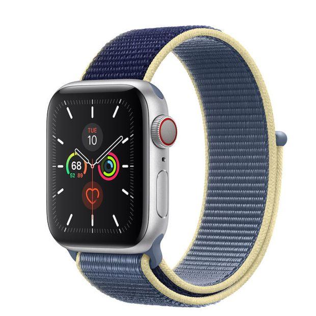 Apple Watch Series 5 GPS + Cellular, 40mm Silver Aluminum Case with Alaskan Blue Sport Loop