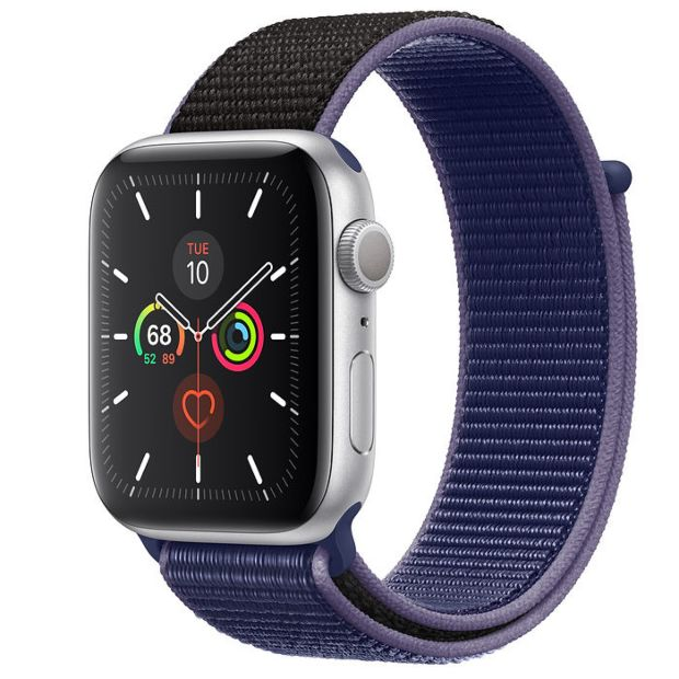Apple Watch Series 5 GPS, 44mm Silver Aluminum Case with Midnight Blue Sport Loop