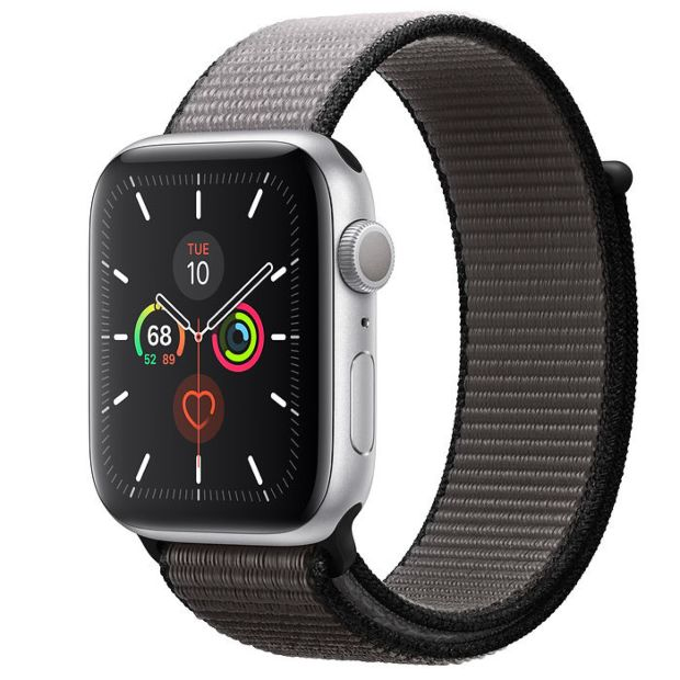 Apple Watch Series 5 GPS, 44mm Silver Aluminum Case with Anchor Gray Sport Loop