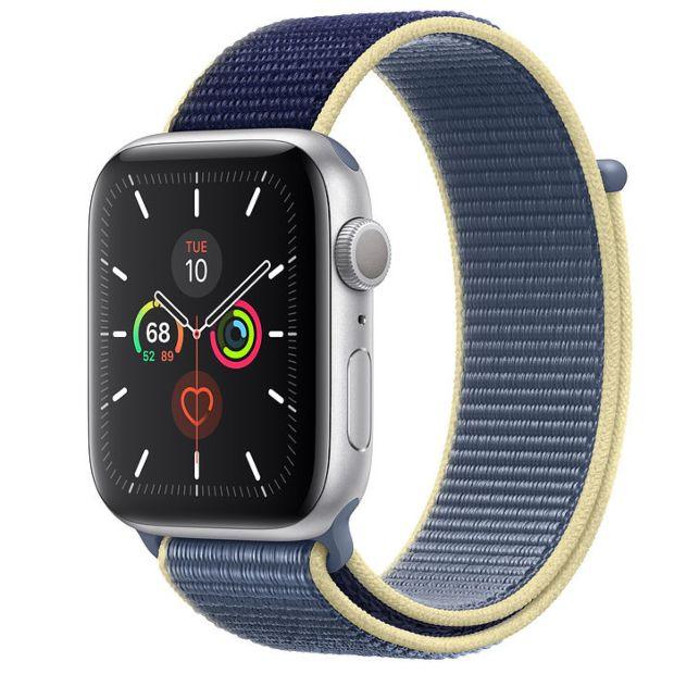 Apple Watch Series 5 GPS, 44mm Silver Aluminum Case with Alaskan Blue Sport Loop