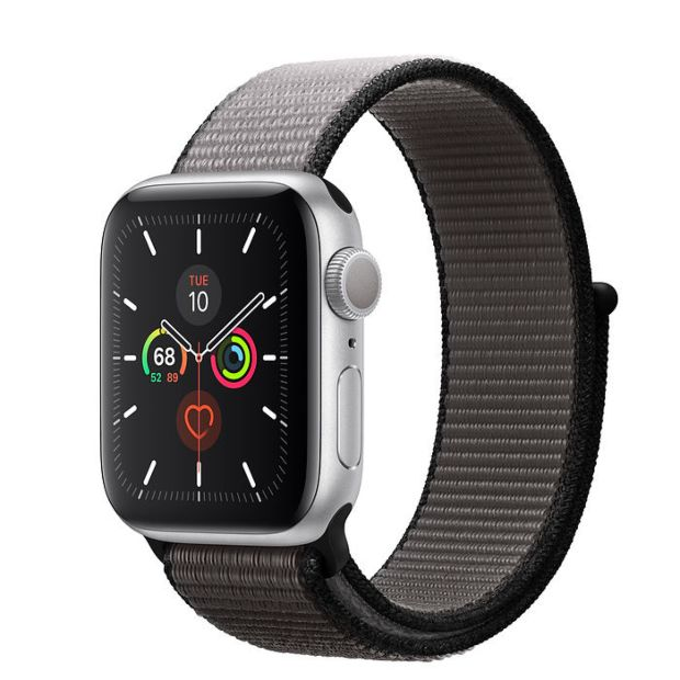 Apple Watch Series 5 GPS, 40mm Silver Aluminum Case with Anchor Gray Sport Loop