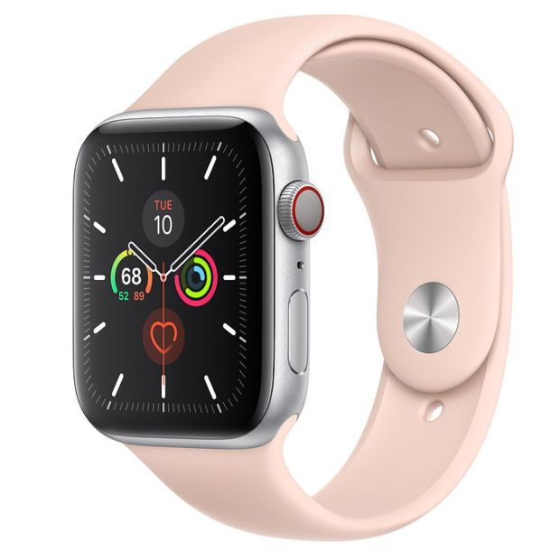 Apple Watch Series 5 GPS + Cellular, 44mm Silver Aluminum Case with Pink Sand Sport Band