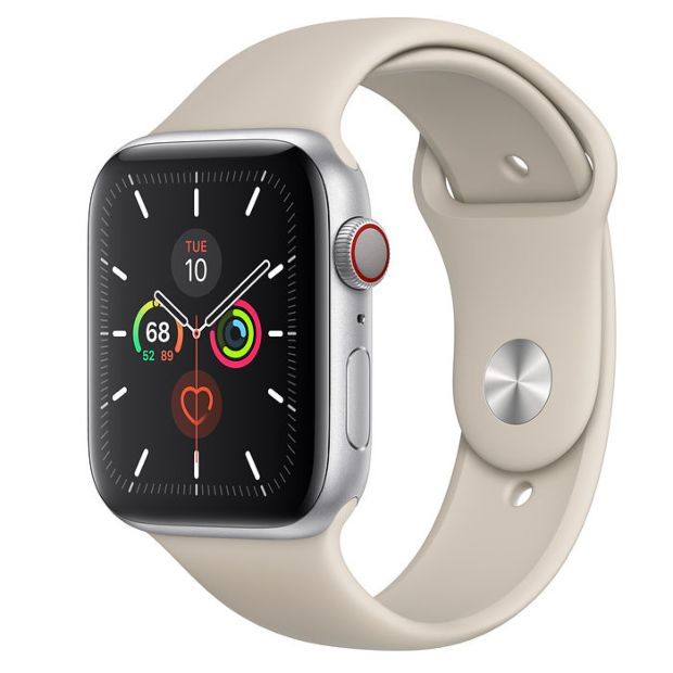 Apple Watch Series 5 GPS + Cellular, 44mm Silver Aluminum Case with Stone Sport Band