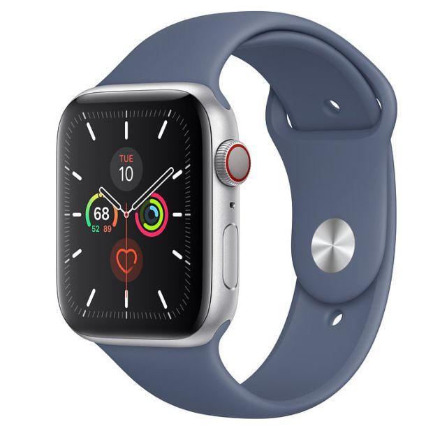 Apple Watch Series 5 GPS + Cellular, 44mm Silver Aluminum Case with Alaskan Blue Sport Band