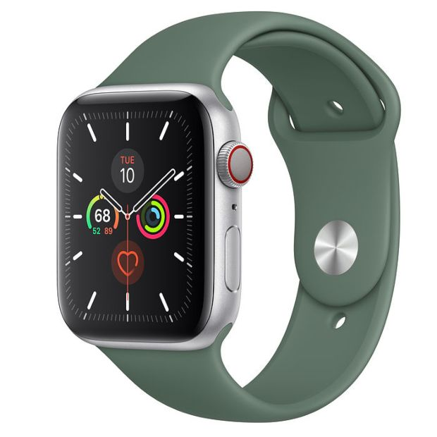 Apple Watch Series 5 GPS + Cellular, 44mm Silver Aluminum Case with Pine Green Sport Band