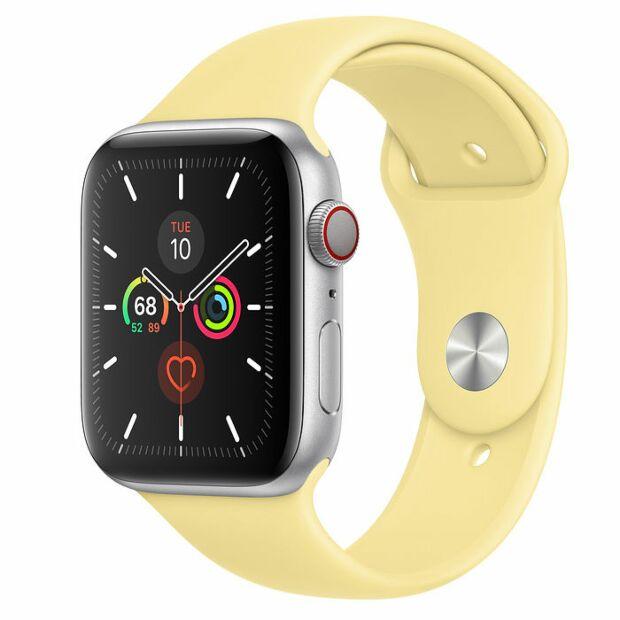 Apple Watch Series 5 GPS + Cellular, 44mm Silver Aluminum Case with Lemon Cream Sport Band