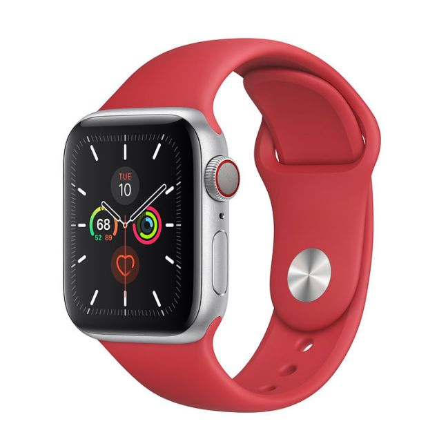 Apple Watch Series 5 GPS + Cellular, 40mm Silver Aluminum Case with Red Sport Band