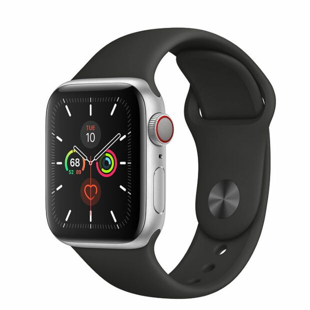 Apple Watch Series 5 GPS + Cellular, 40mm Silver Aluminum Case with Black Sport Band