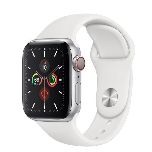 Apple Watch Series 5 GPS + Cellular, 40mm Silver Aluminum Case with White Sport Band MWWN2 / MWX12