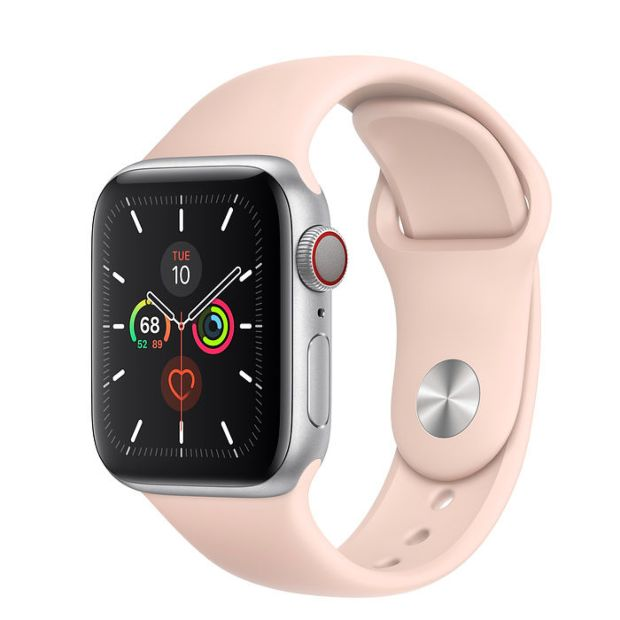 Apple Watch Series 5 GPS + Cellular, 40mm Silver Aluminum Case with Pink Sand Sport Band