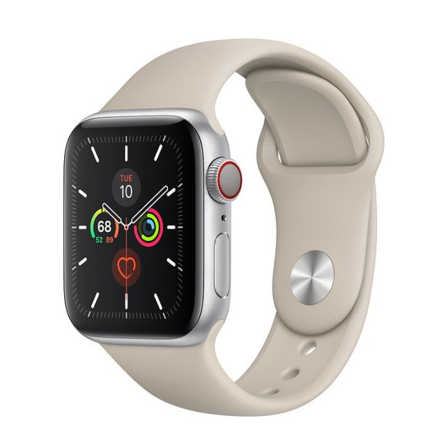 Apple Watch Series 5 GPS + Cellular, 40mm Silver Aluminum Case with Stone Sport Band