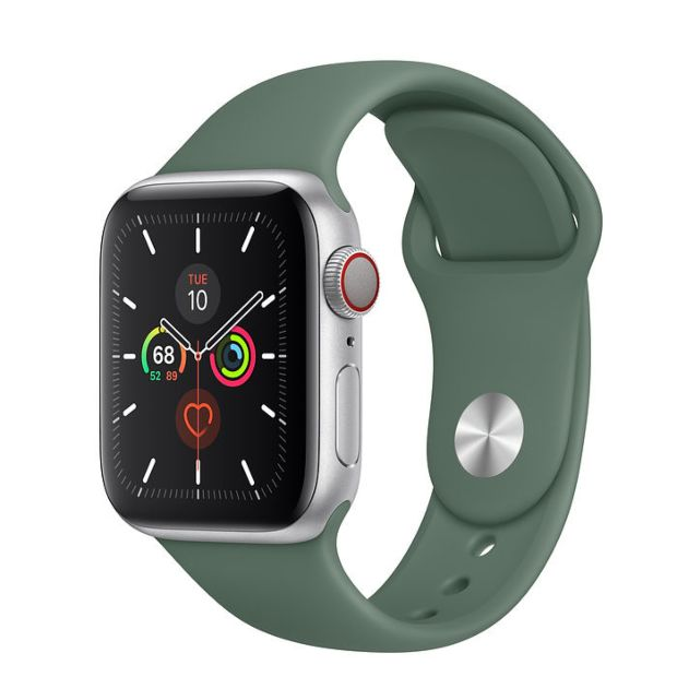 Apple Watch Series 5 GPS + Cellular, 40mm Silver Aluminum Case with Pine Green Sport Band