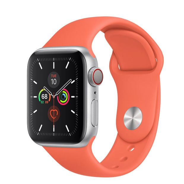 Apple Watch Series 5 GPS + Cellular, 40mm Silver Aluminum Case with Clementine Sport Band