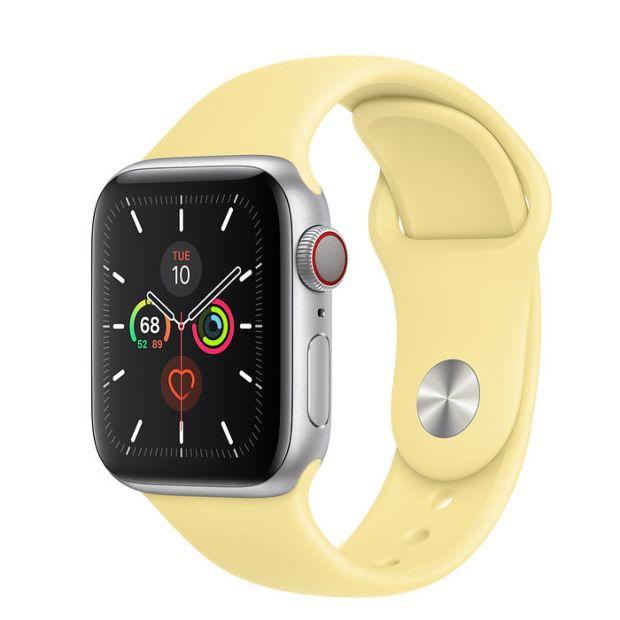 Apple Watch Series 5 GPS + Cellular, 40mm Silver Aluminum Case with Lemon Cream Sport Band