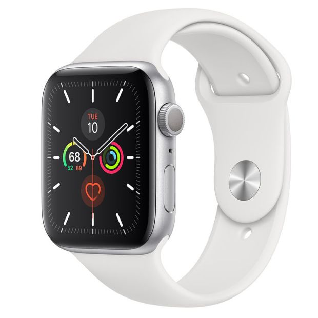 Apple Watch Series 5 GPS, 44mm Silver Aluminum Case with White Sport Band MWVD2