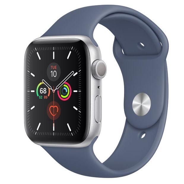 Apple Watch Series 5 GPS, 44mm Silver Aluminum Case with Alaskan Blue Sport Band