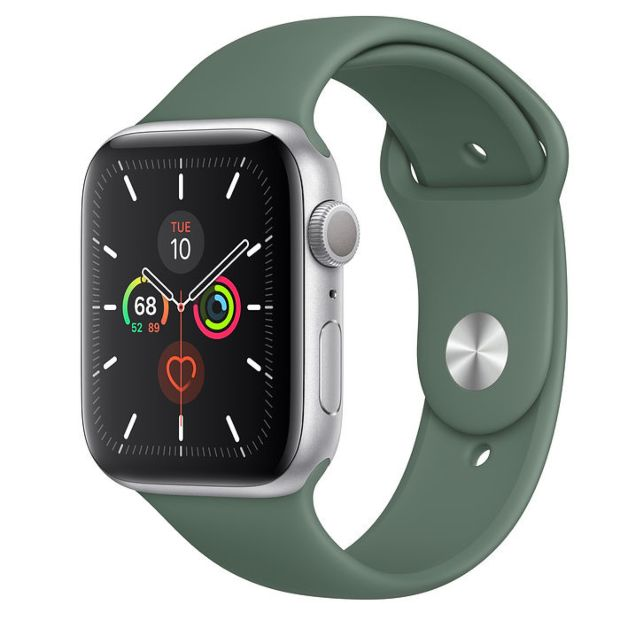 Apple Watch Series 5 GPS, 44mm Silver Aluminum Case with Pine Green Sport Band