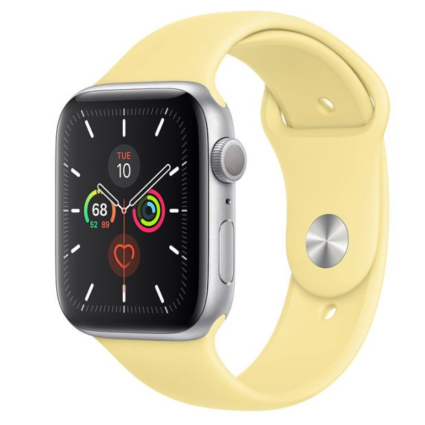 Apple Watch Series 5 GPS, 44mm Silver Aluminum Case with Lemon Cream Sport Band