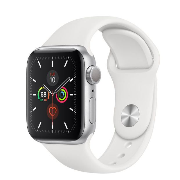 Apple Watch Series 5 GPS, 40mm Silver Aluminum Case with White Sport Band MWV62