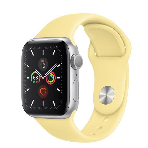 Apple Watch Series 5 GPS, 40mm Silver Aluminum Case with Lemon Cream Sport Band